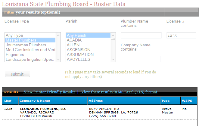 LSPB Master Plumber Certification